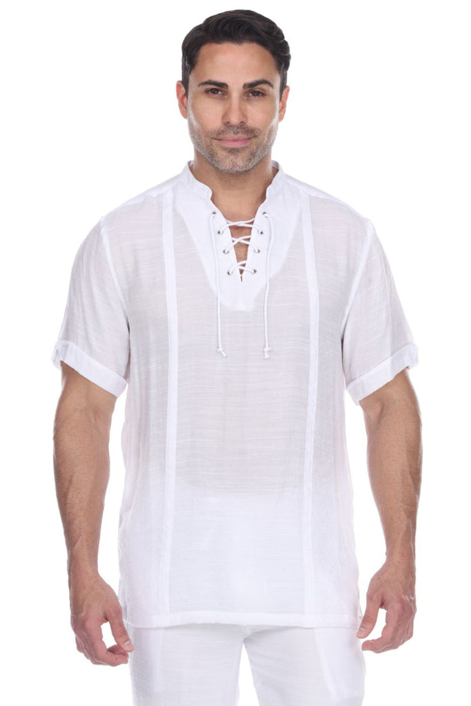 Men's Mandarin Collar Beachwear Lace Up Short Sleeve Shirt