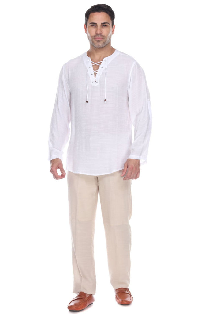 Men's Laced Up Beachwear Long Sleeve Shirt