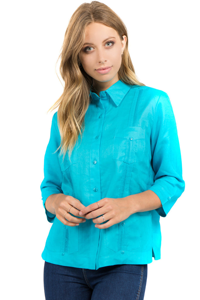 Women's Guayabera Shirt Premium 100% Linen 3/4 Sleeves 4 Pocket Design XS-3X