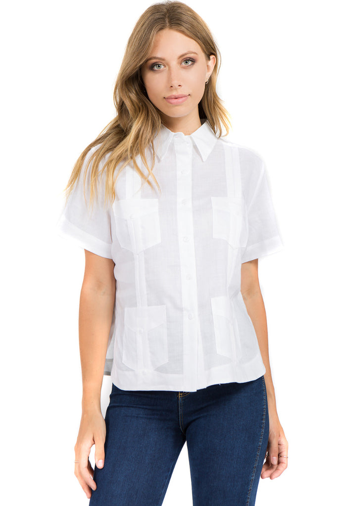 Women's Traditional Guayabera Shirt Premium 100% Linen Short Sleeve  4 Pocket  Design XS-3X
