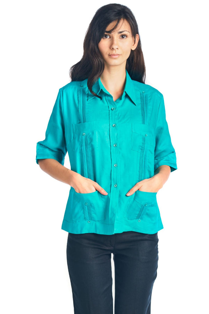 Women's Traditional Guayabera Shirt 3/4 Sleeve 4 Pocket Design