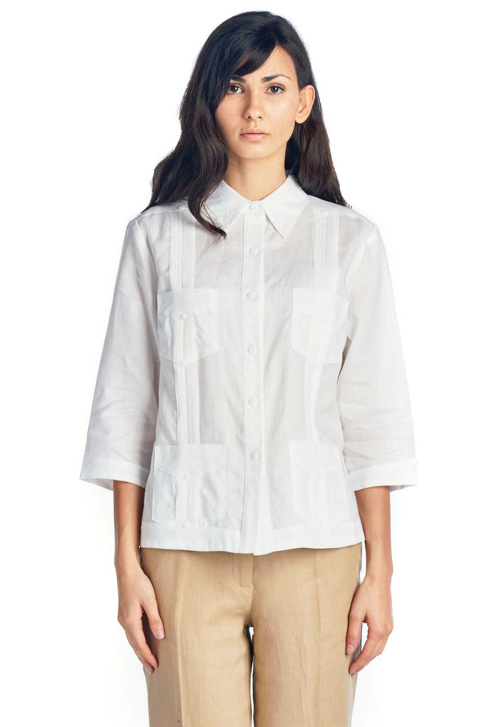 Womens Guayabera Shirt 3/4 Sleeve 4 Pocket Design