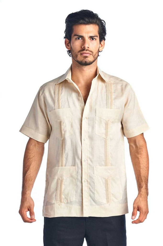 Men's Traditional Guayabera Shirt Premium 100% Linen Short Sleeve  4 Pocket  Design