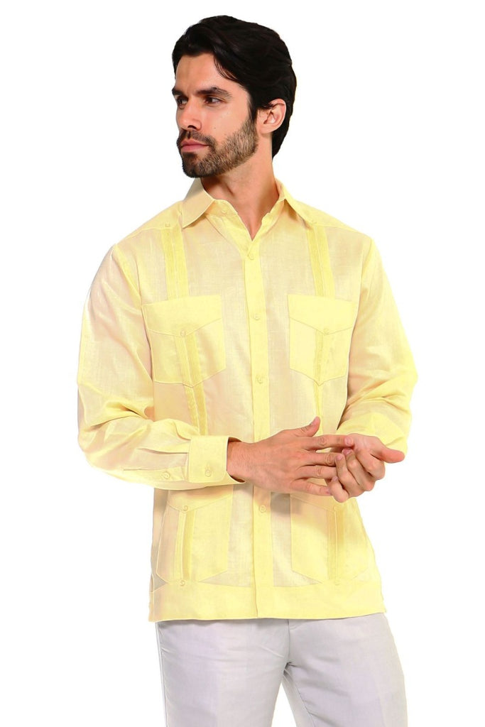 Men's Traditional Guayabera Shirt Premium 100% Linen Long Sleeve 4 Pocket Design