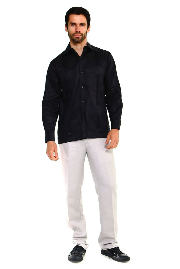Big Size Men's Guayabera Shirt Classic Linen Long Sleeve