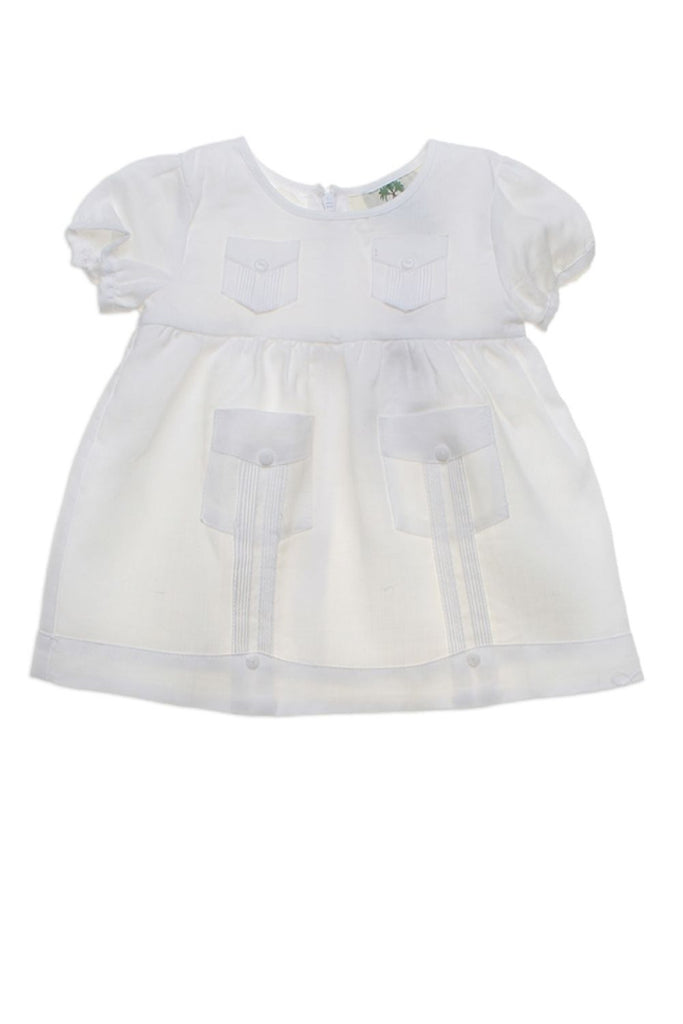 Infant Girl Baby Guayabera Linen Dress 0M-12M