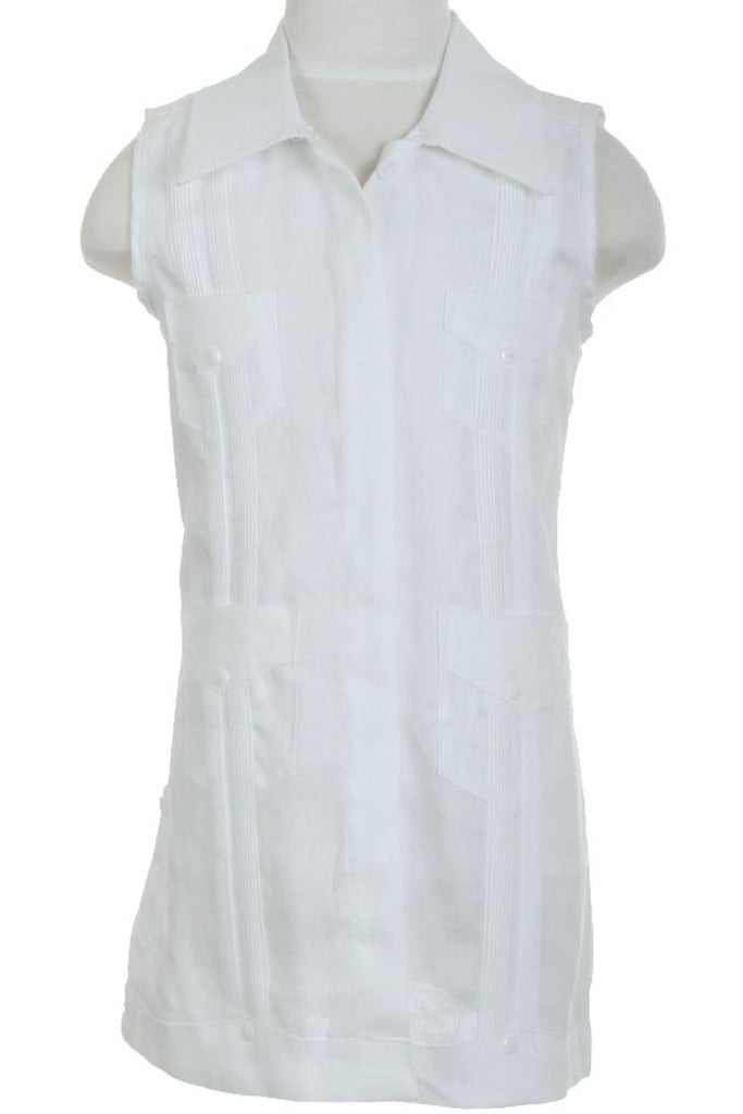 Girls Sleeveless Guayabera Linen Dress with 4 Pocket Design 2T-4T and 4-10