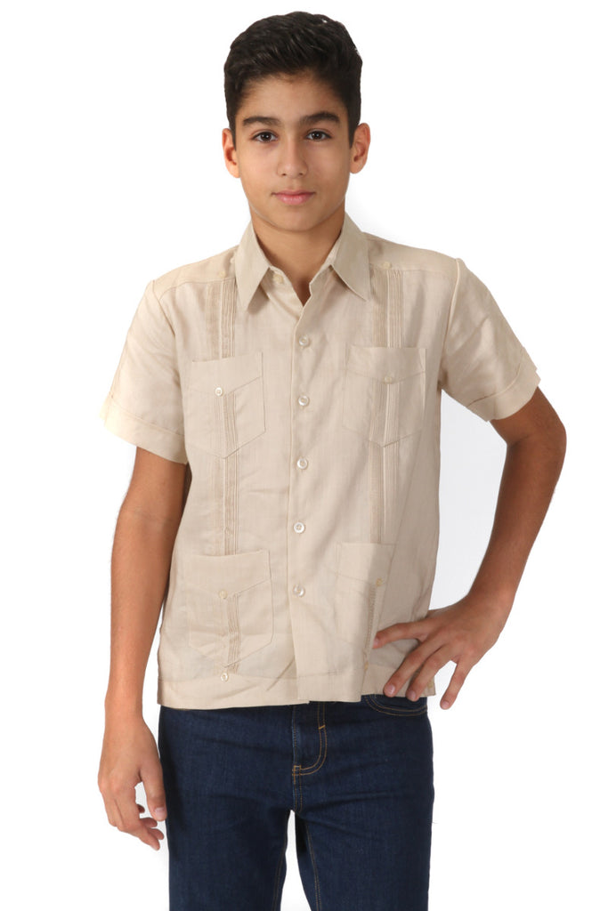 Junior Boys Linen Guayabera Shirt Short Sleeve 4 Pocked Design 14J-20J