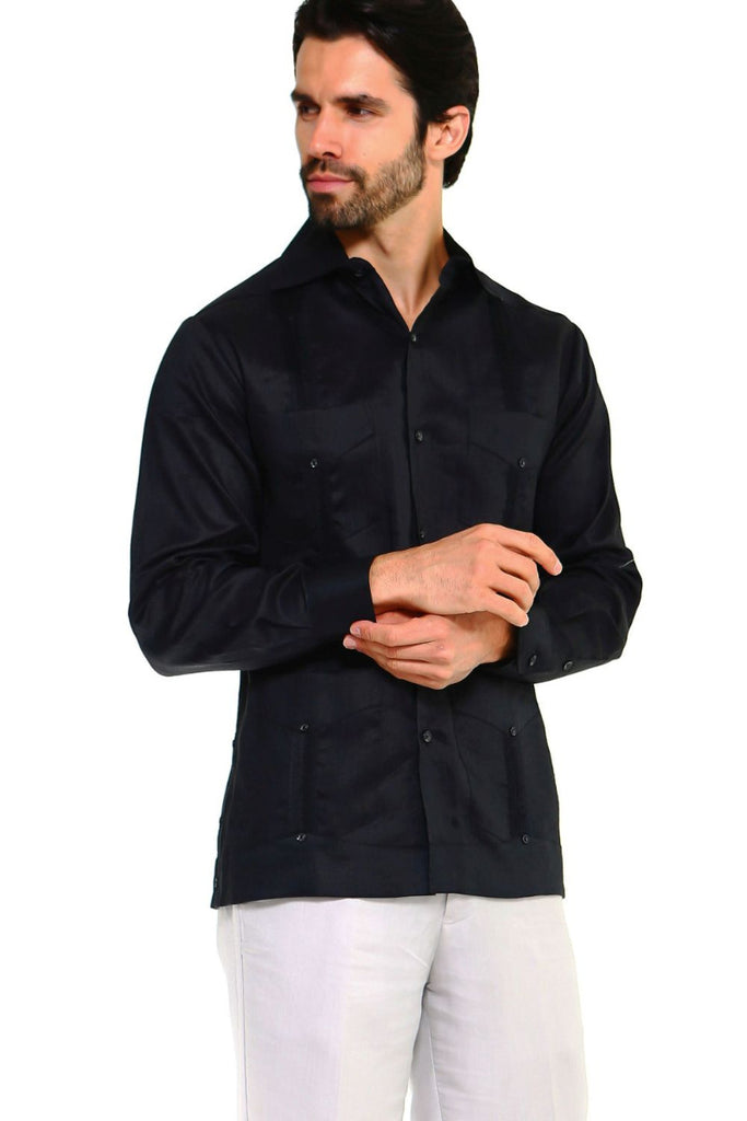 Mojito Guayabera Shirt Classic Long Sleeve Black