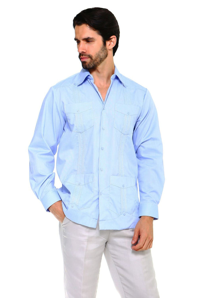 Mojito Guayabera Shirt Classic Long Sleeve Blue