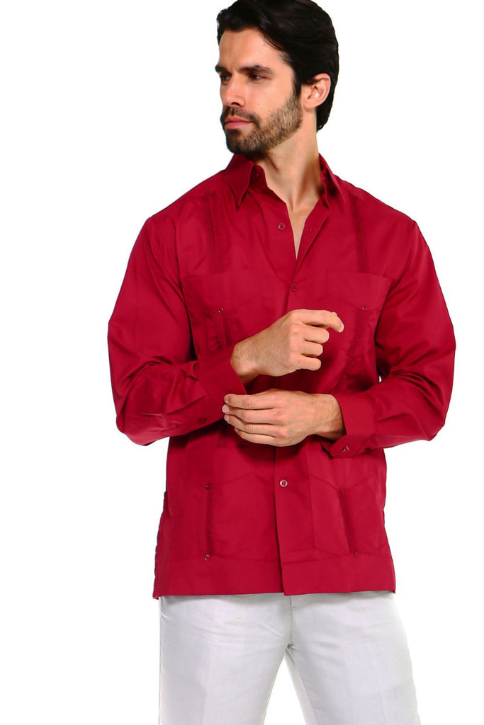Mojito Guayabera Shirt Classic Long Sleeve Burgundy