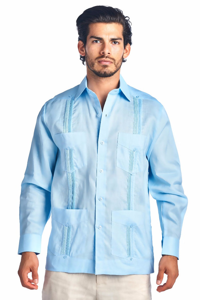 Mojito Guayabera Shirt Classic Long Sleeve Light Blue