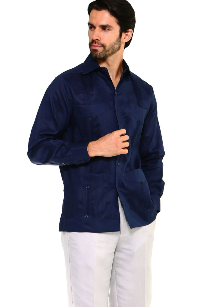 Mojito Guayabera Shirt Classic Long Sleeve Navy