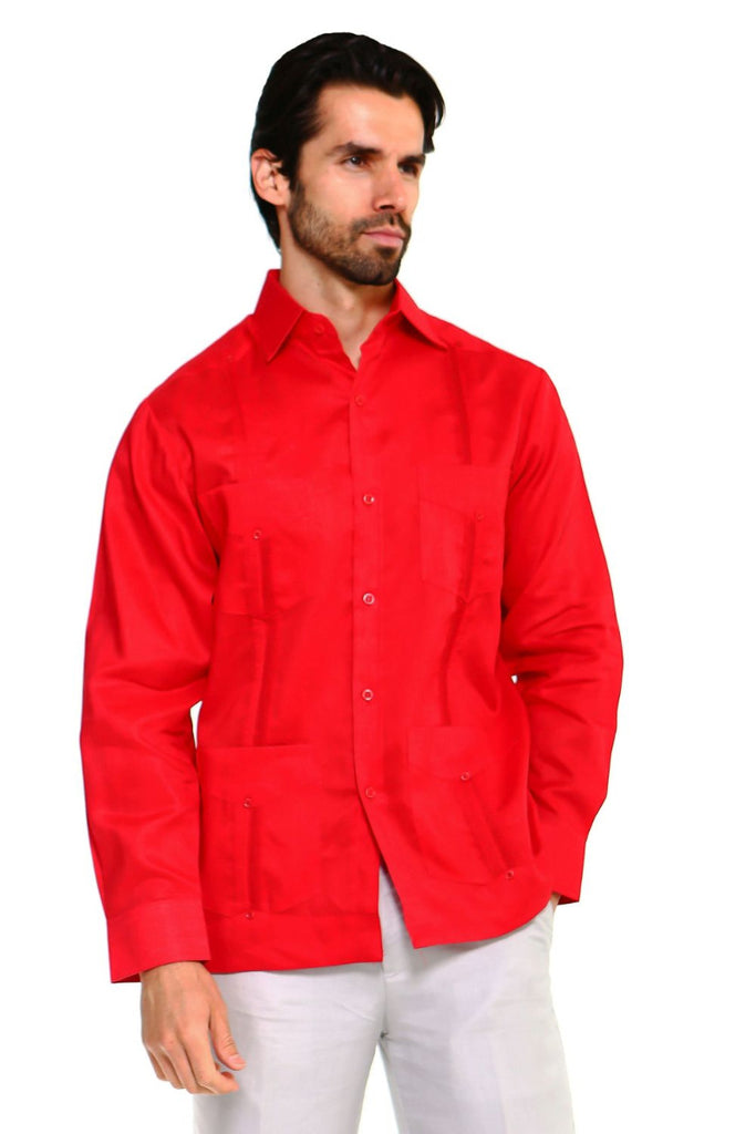 Mojito Guayabera Shirt Classic Long Sleeve Red