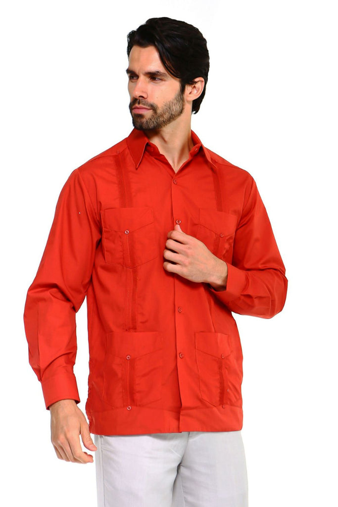 Mojito Guayabera Shirt Classic Long Sleeve Rust