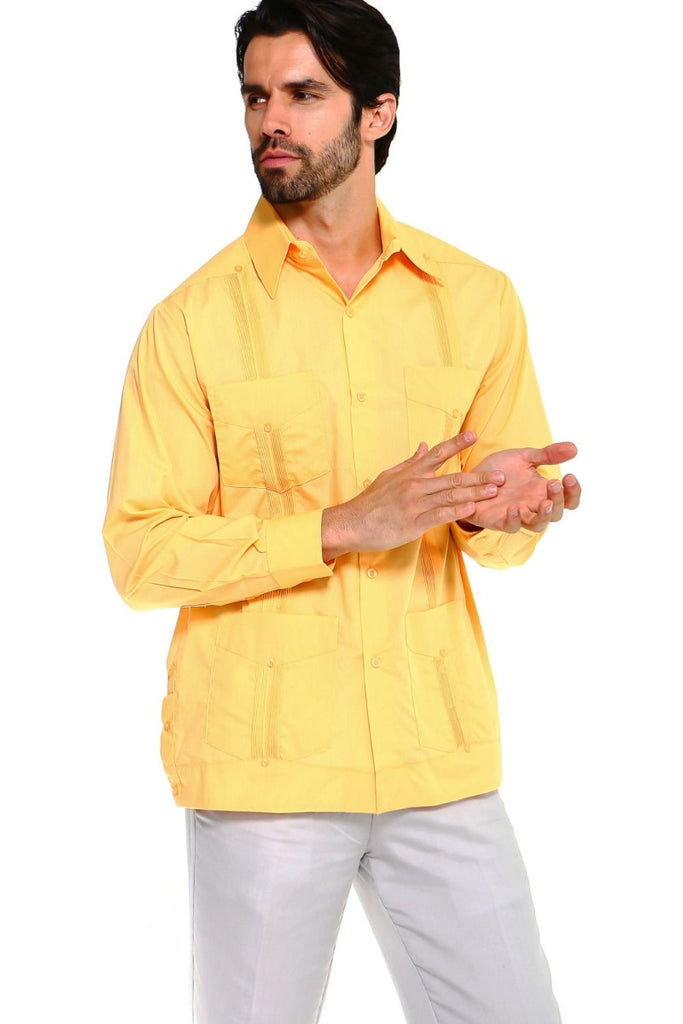 Mojito Guayabera Shirt Classic Long Sleeve Yellow