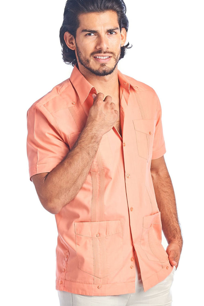 Men's Guayabera Shirt Button Down Short Sleeve Solid Color Soft Cotton Blend