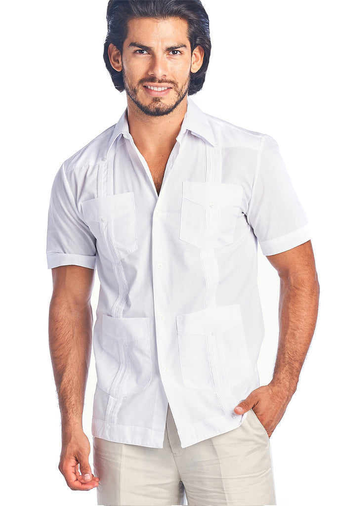 Guayabera Shirt Short Sleeve Solid Color Soft Cotton Blend