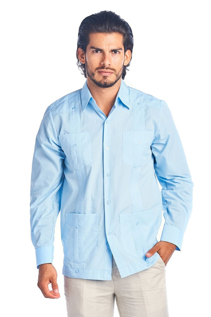 Men's Guayabera Shirt Button Down Long Sleeve Solid Color Soft Cotton Blend