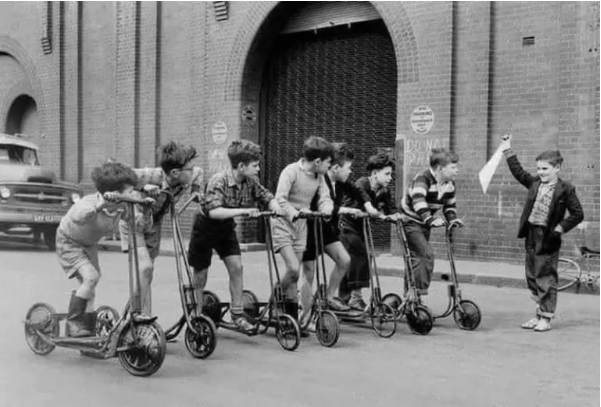 A Kid's Scooter Race at the Paddy's Markets