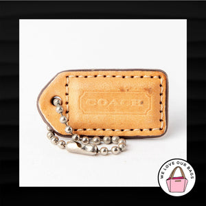 1.5″ Small COACH TAN LEATHER KEY FOB CHARM KEYCHAIN HANG TAG WRISTLET