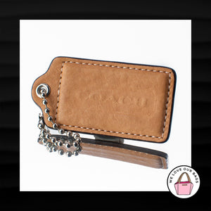3″ Large COACH TAN LEATHER KEY FOB BAG CHARM KEYCHAIN HANGTAG TAG