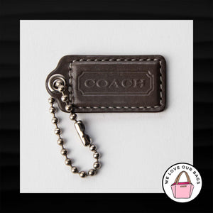 "2"" Medium COACH DARK GRAY GREY LEATHER KEY FOB BAG CHARM KEYCHAIN HANGTAG TAG"