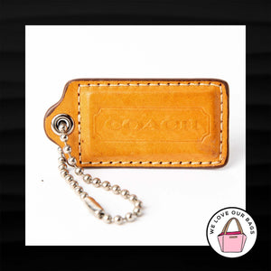 2.5″ Large COACH TAN TAUPE LEATHER KEY FOB BAG CHARM KEYCHAIN HANGTAG TAG
