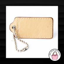 Load image into Gallery viewer, 2.5″ Large COACH TAN TAUPE LEATHER KEY FOB BAG CHARM KEYCHAIN HANGTAG TAG