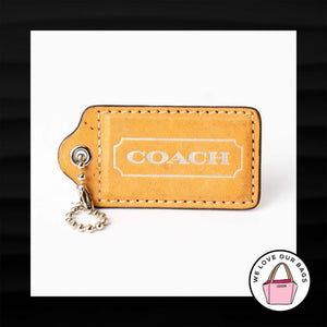 3″ Large COACH NATURAL TAN LEATHER KEY FOB BAG CHARM KEYCHAIN HANGTAG TAG