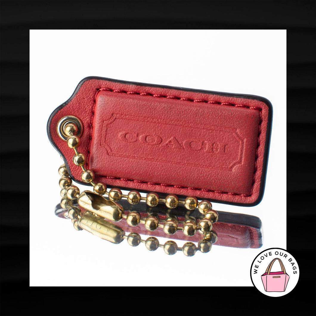 2″ Medium COACH RED LEATHER KEY FOB BAG CHARM KEYCHAIN HANGTAG TAG