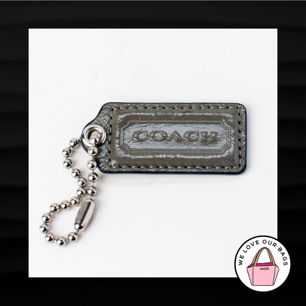 2.25″ Large COACH GRAY PATENT LEATHER KEY FOB BAG CHARM KEYCHAIN HANGTAG TAG