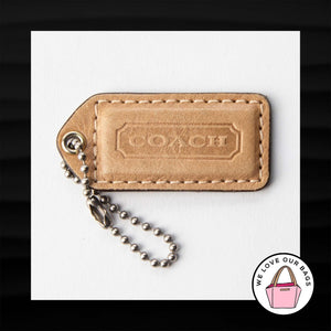 "2.25"" Medium COACH TAN NUDE LEATHER KEY FOB BAG CHARM KEYCHAIN HANGTAG TAG"