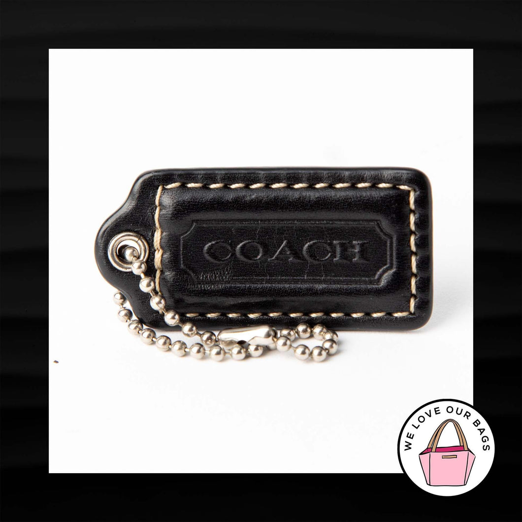 2″ Medium COACH BLACK LEATHER KEY FOB BAG CHARM KEYCHAIN HANGTAG TAG