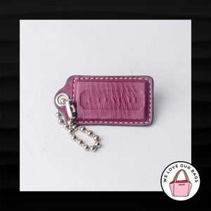 "3"" Large COACH PINK MAGENTA LEATHER KEY FOB BAG CHARM KEYCHAIN HANGTAG TAG"
