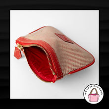 Load image into Gallery viewer, DOONEY & BOURKE RED CREAM FABRIC LEATHER ZIPPER WRISTLET WALLET CLUTCH POUCH