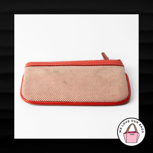 DOONEY & BOURKE RED CREAM FABRIC LEATHER ZIPPER WRISTLET WALLET CLUTCH POUCH
