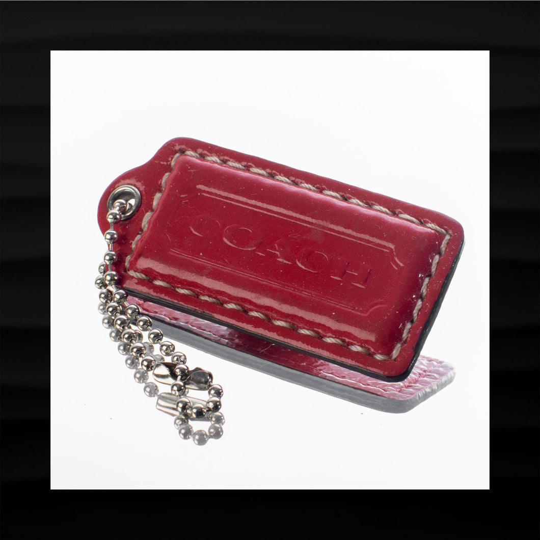 2.25″ Medium COACH RED PATENT LEATHER KEY FOB BAG CHARM KEYCHAIN HANGTAG TAG