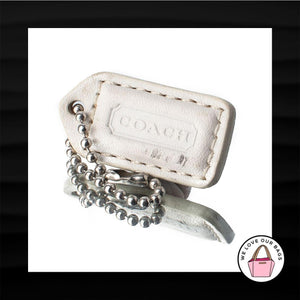 1.5″ Small COACH WHITE PINK LEATHER KEY FOB KEYCHAIN HANG TAG WRISTLET WALLET