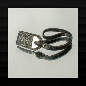 8″ NICOLE MILLER BLACK LEATHER WITH SILVER KEY FOB BAG CHARM KEYCHAIN HANGTAG