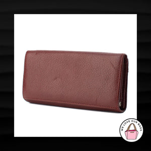 HENG HUANG DARK RED MAROON LEATHER ENVELOPE SNAP WALLET CLUTCH