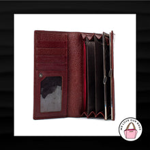 Load image into Gallery viewer, HENG HUANG DARK RED MAROON LEATHER ENVELOPE SNAP WALLET CLUTCH