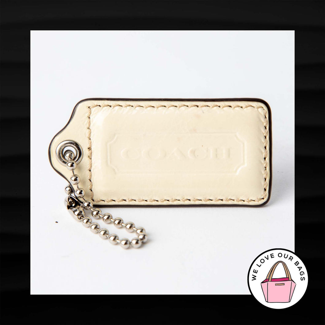 2.5″ Large COACH IVORY PATENT LEATHER KEY FOB BAG CHARM KEYCHAIN HANGTAG TAG