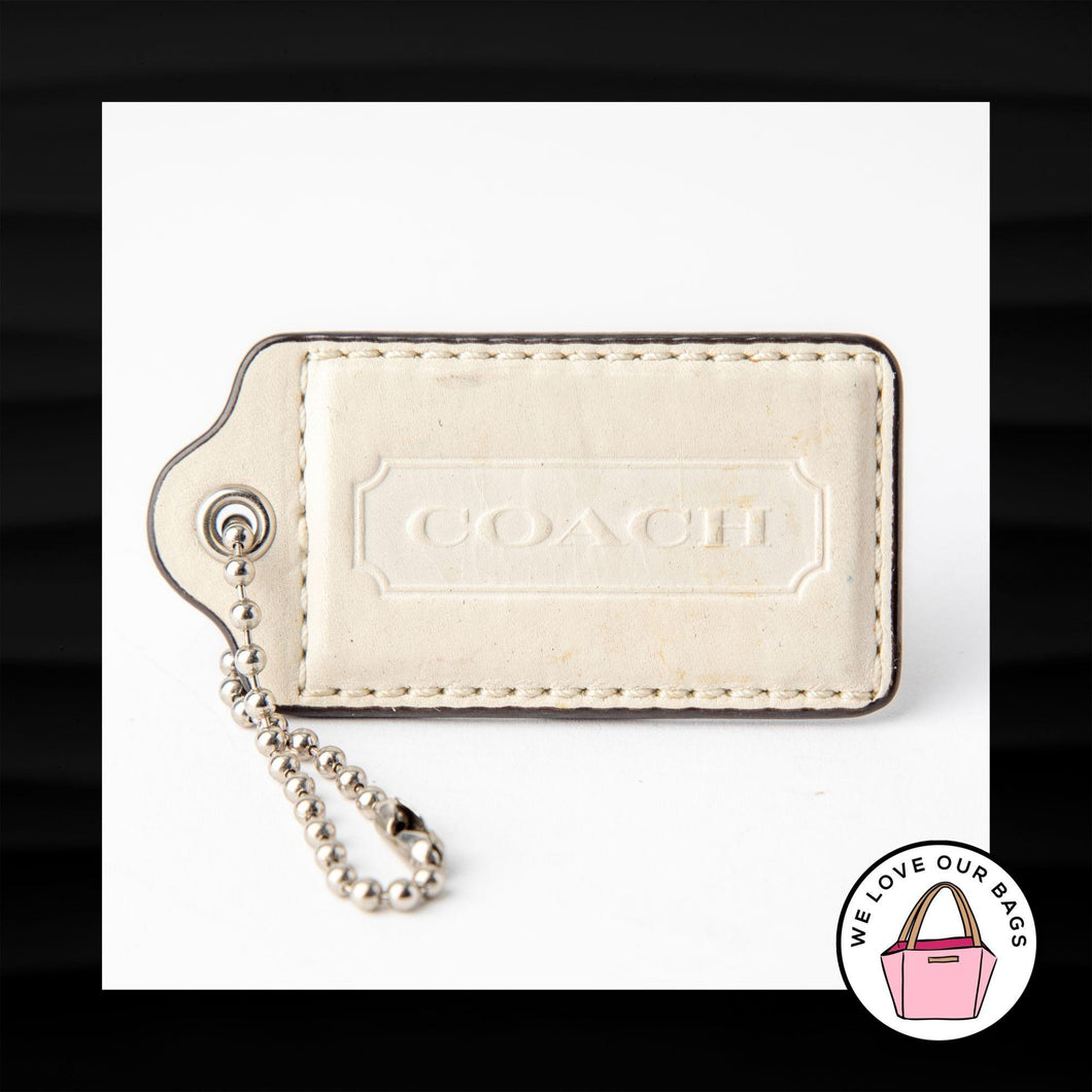 3″ Large COACH WHITE IVORY LEATHER KEY FOB BAG CHARM KEYCHAIN HANGTAG TAG