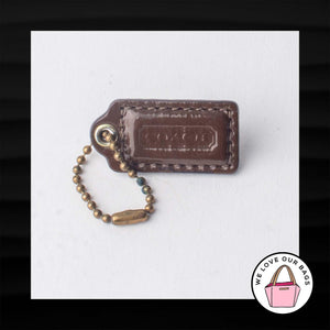 "1.5"" Small COACH BROWN PATENT LEATHER BRASS KEY FOB CHARM KEYCHAIN HANG TAG"