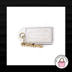"2.5"" Large COACH WHITE LEATHER BRASS KEY FOB BAG CHARM KEYCHAIN HANGTAG TAG"
