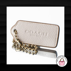 2.25″ Medium COACH NEW YORK CHALK WHITE LEATHER KEY FOB CHARM KEYCHAIN HANG TAG