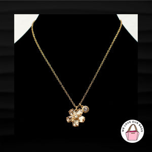 RARE $88 COACH PAVE DAISY FLOWER GOLD AND CRYSTAL RHINESTONE GEMS NECKLACE 96597