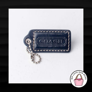 "2"" Medium COACH BLACK LEATHER KEY FOB BAG CHARM KEYCHAIN HANGTAG TAG"