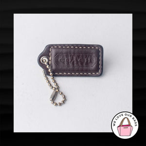 "2"" Medium COACH BROWN LEATHER KEY FOB BAG CHARM KEYCHAIN HANGTAG TAG"